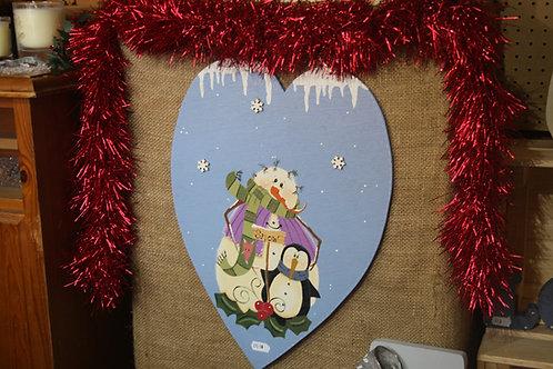 Christmas Snow Heart Wooden Craft