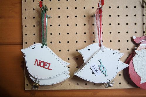 """Noel"" and ""Joy"" Christmas Bird Hanger"