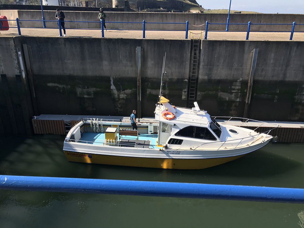Fyne Sea Tours crew in the sea lock, leaving Whitehaven Marina, Portavadie bound