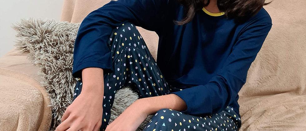 Pijama Infantil Unissex Azul Marinho