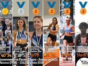 Championnats de France Cadets-Juniors en salle 2020 : 6 médailles bretonnes