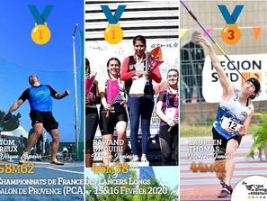 Championnats de France des Lancers Longs 2020 : 3 médailles pour la Bretagne