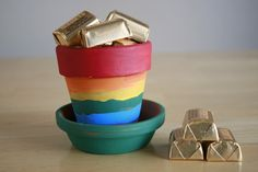 Fancy rainbow & gold craft
