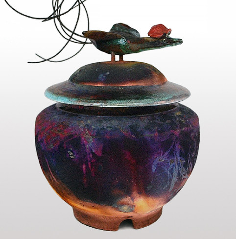 Vase avec outarde
