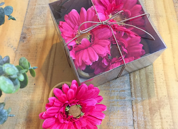 Kit com 4 Porta-guardanapos Gérbera pink