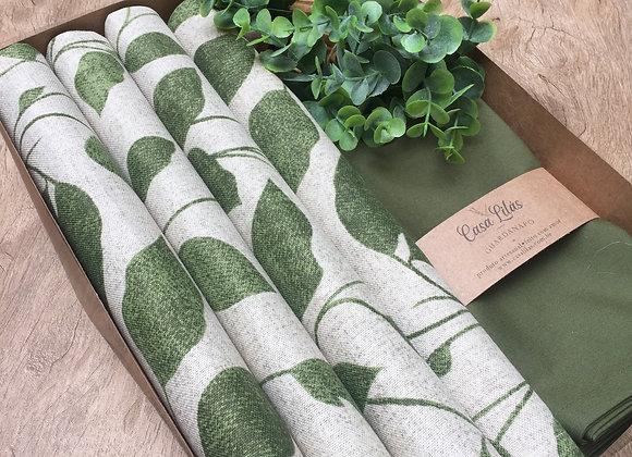 Kit Mesa Posta Folhas verde