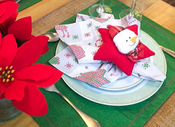 Kit mesa posta natal estrela ( 4 lugares )