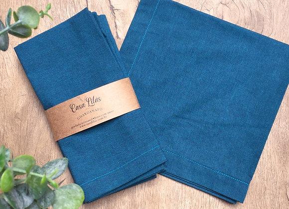Kit com 4 guardanapos azul petróleo