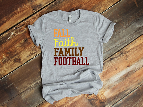 Fall Faith Family Football Tee