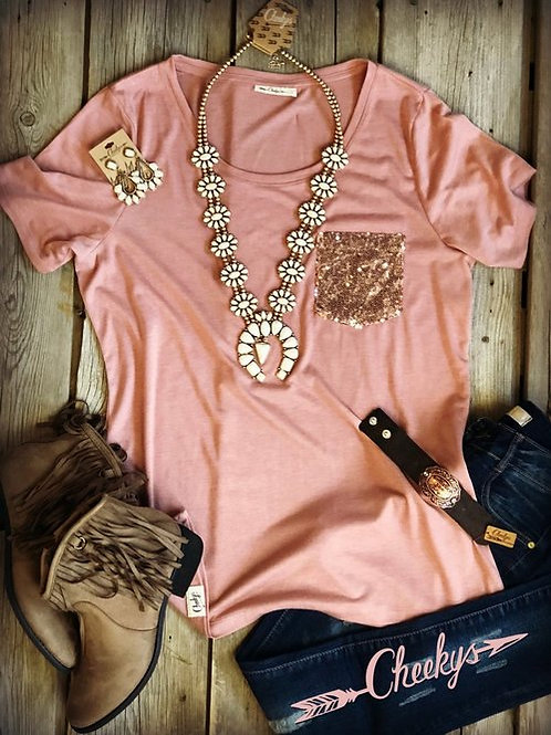 Cheekys Rose Gold Sequin Tee