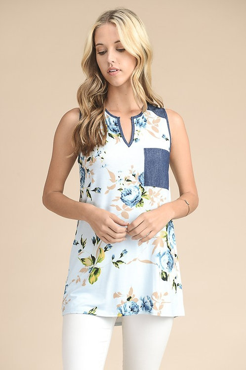 Sleeveless Floral Tunic Top