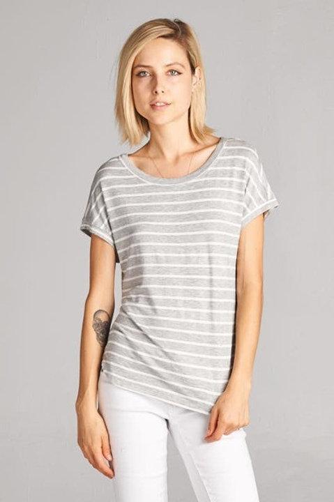 Striped Knit Round Neck Tee