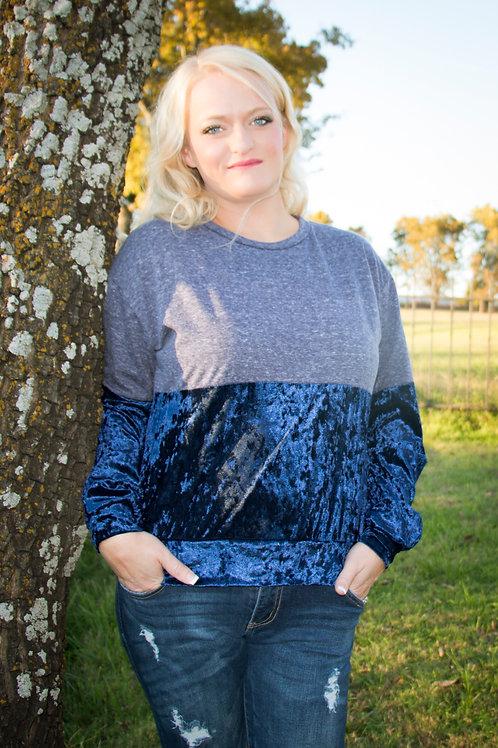 Navy Crushed Velvet Color Block Sweatshirt