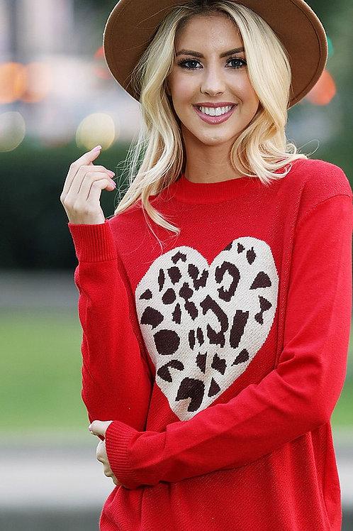 Leopard Heart Sweater