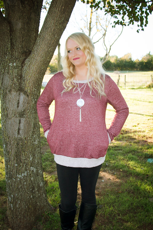Maroon Outlined Sweater