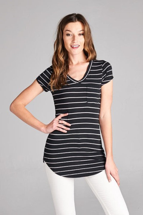 Navy Striped V Neck Tee With Pocket