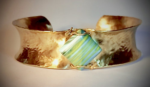 hand hammered brass cuff bracelet with glass accent