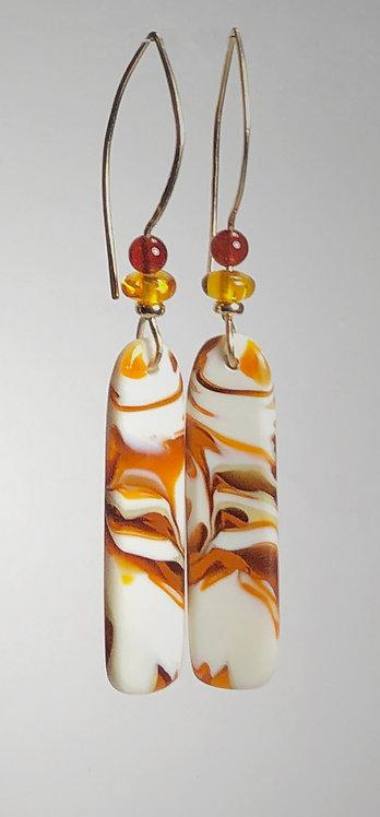 amber & ivory art glass earrings