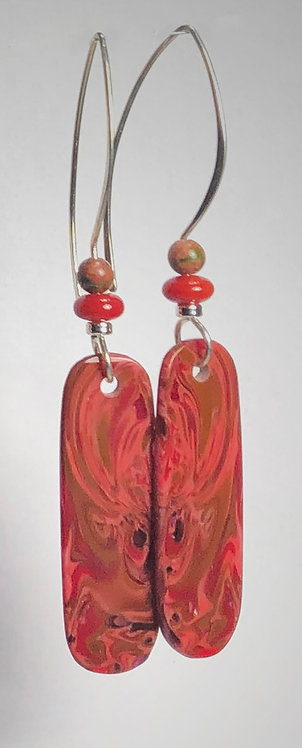 hot magma art glass earrrings