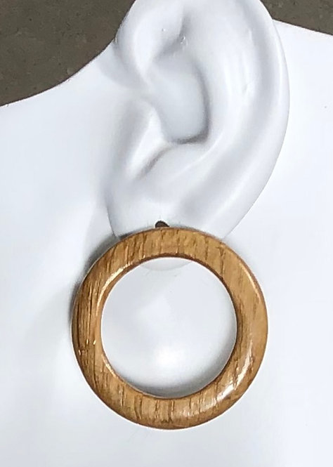 Thin, Flat Barrel Oak Post Earrings