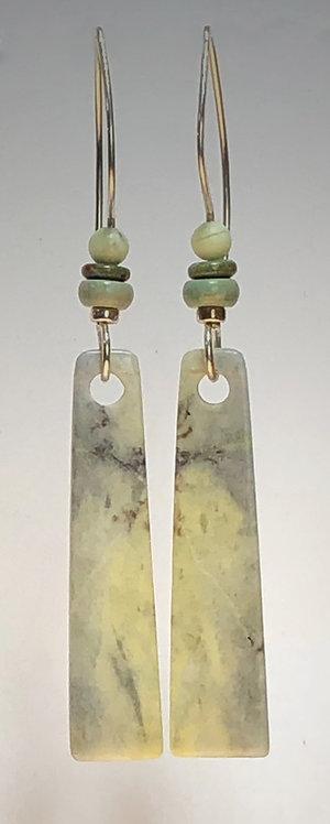 hand cut california serpentine gemstone earrings