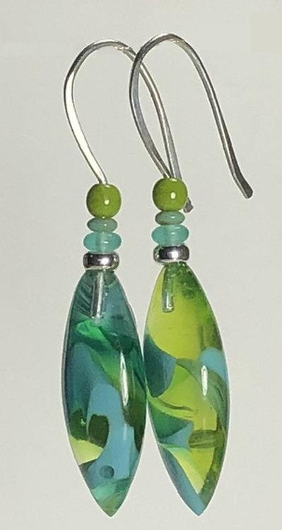 chartreuse and aqua swirl art glass earrings