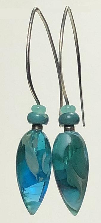 turquoise and grey swirl art glass earrings