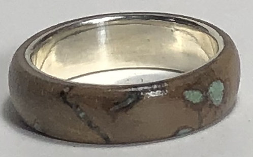Grape Vine Wood & Turquoise Ring on Sterling Silver (size 7-1/4)