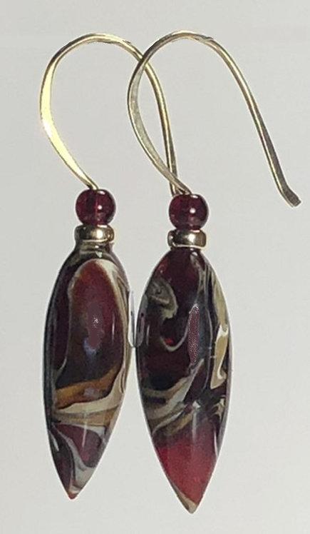 bordeaux and granite swirl art glass earrings
