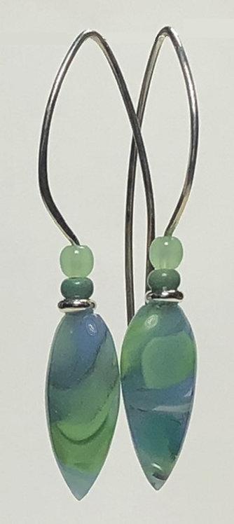 periwinkle and sage swirl art glass earrings