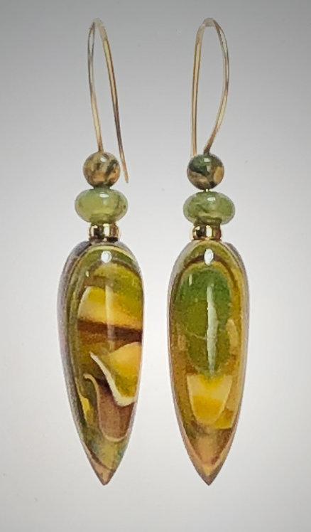 olive amber art glass earrings
