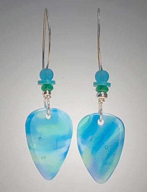 aquatic art glass earrings
