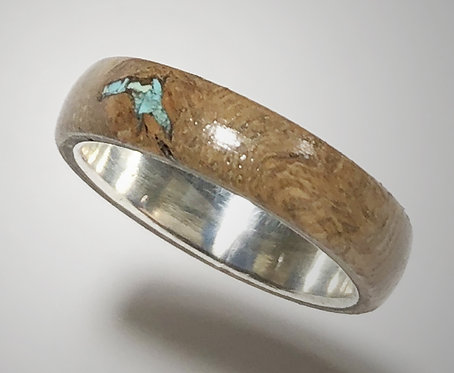 grapevine & turquoise on sterling band (size 6-1/2)