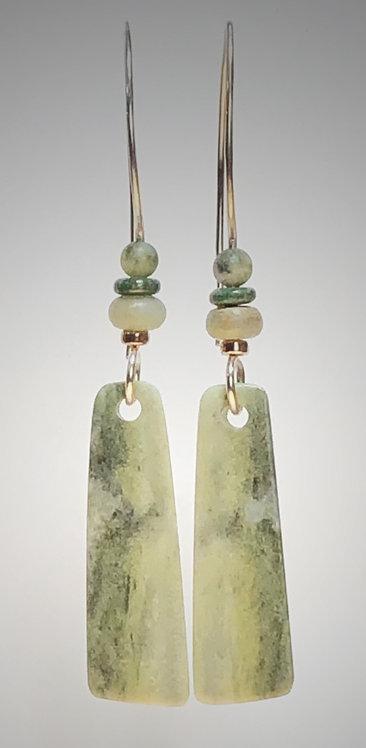 california serpentine gemstone earrings