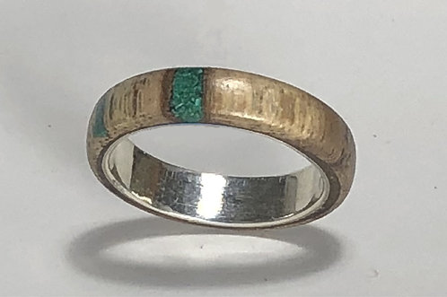 Grape Vine Wood & Malachite Ring on Sterling Silver (size 8-3/4)