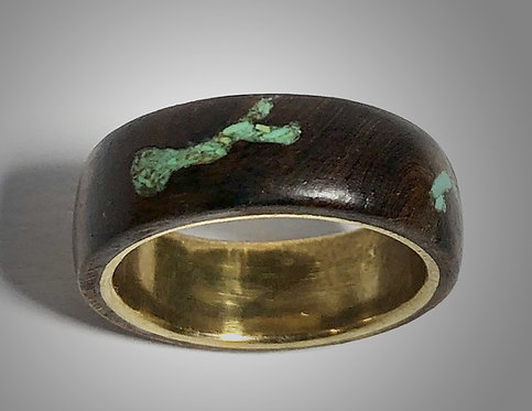 grapevine wood & turquoise on brass band (size 7)
