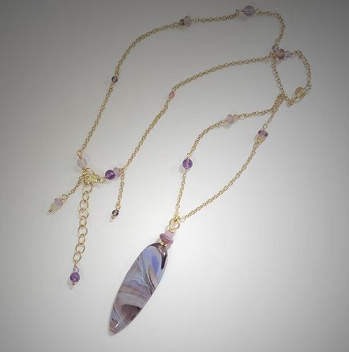 lavender swirl art glass pendant necklace