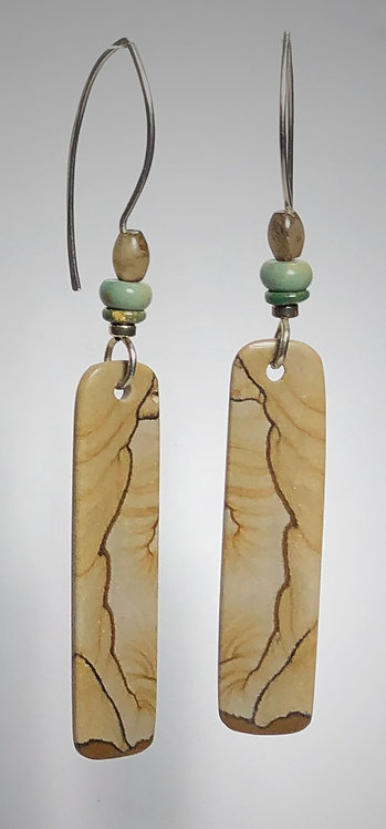 hand cut picture jasper gemstone earrings