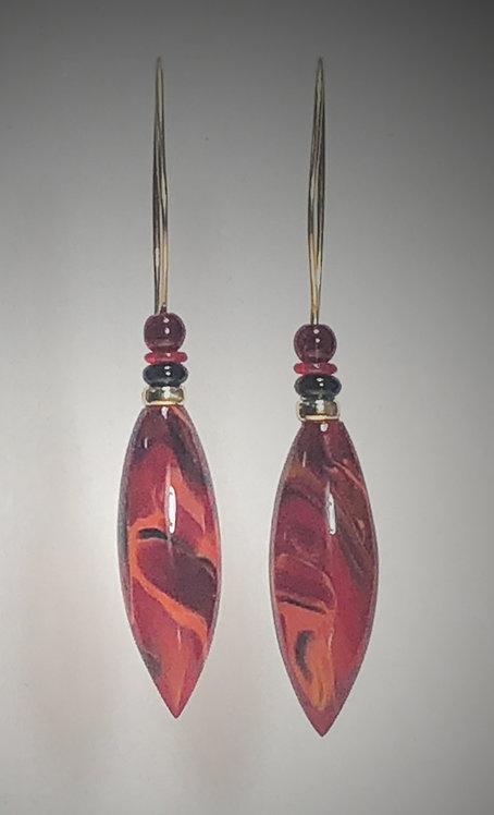 solid fire art glass earrings