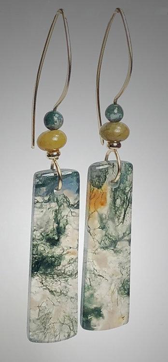 moss agate gemstone earrings