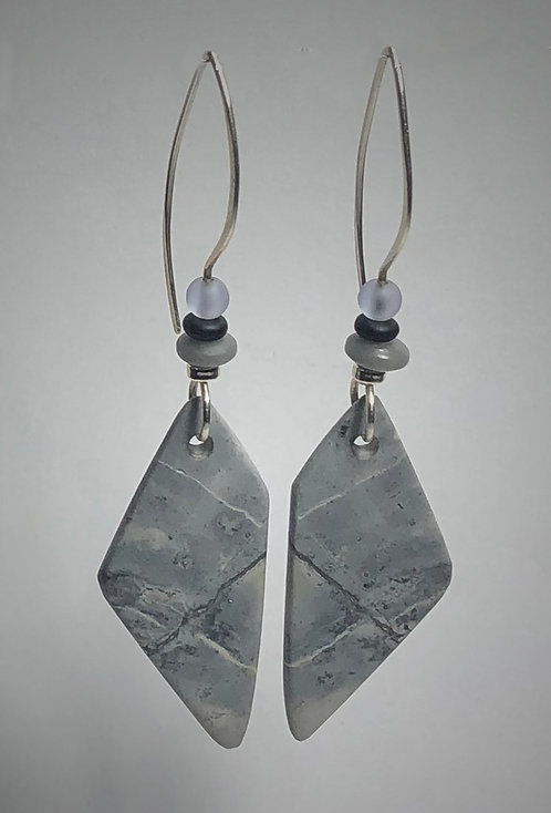 hand cut picasso jasper gemstone earrings