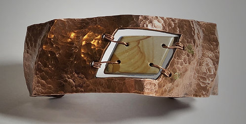 hand hammered copper cuff cut-out bracelet