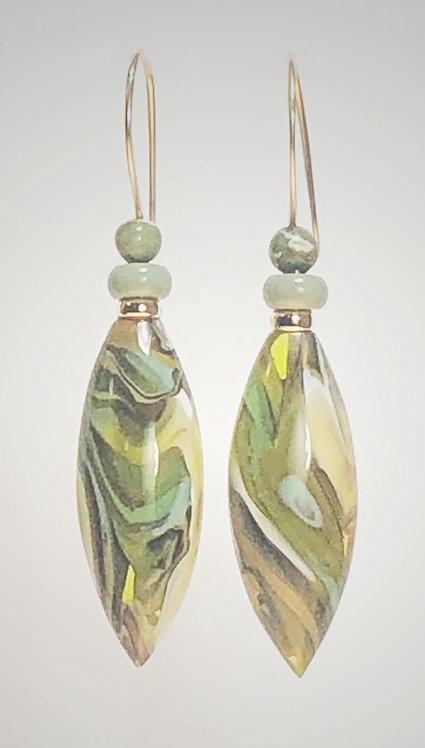 olive & sage art glass earrings