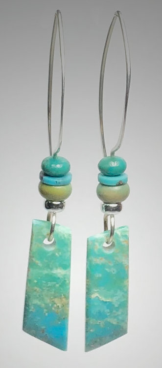 hand cut turquoise fade gemstone earrings