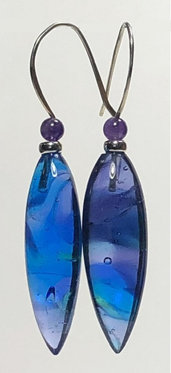 aqua blue swirl art glass dagger earrings