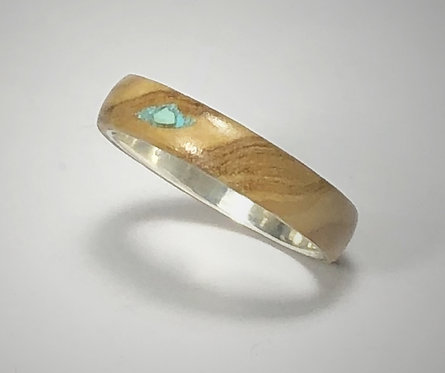 olive wood & turquoise on sterling band (size 9-1/4)
