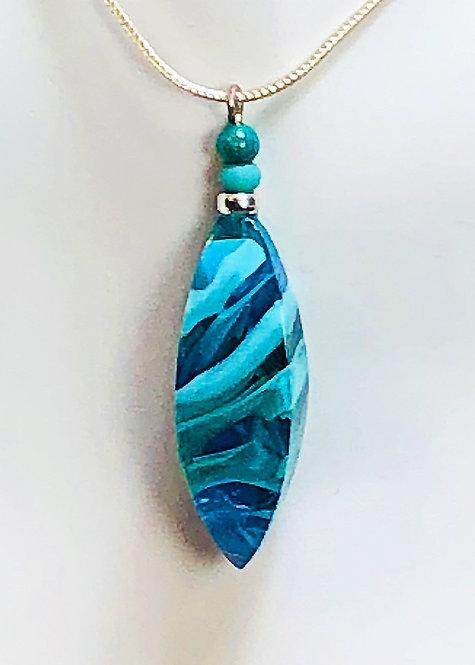 faceted aqua swirl lampwork glass pendant