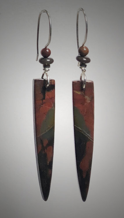 bloodstone gemstone earrings