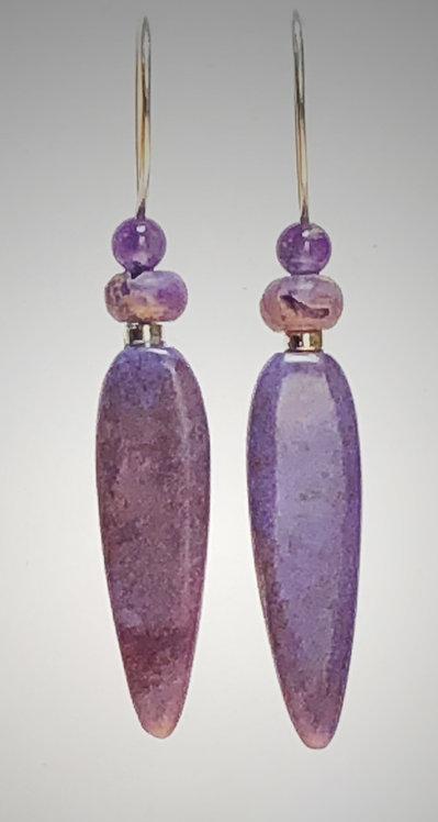 hand cut purple jade gemstone earrings