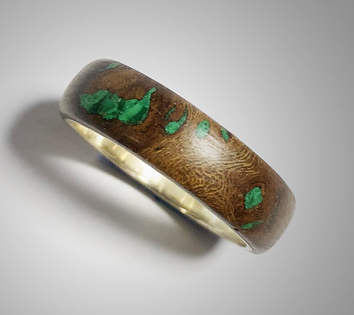 grapevine wood & malachite on sterling band (size 10)